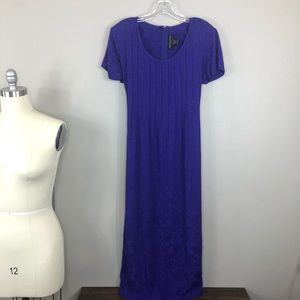 Connected Purple Dress with Pleated Bodice Rayon